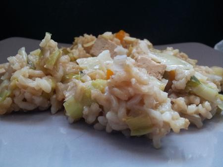 recette végétarienne et recette légère avec riz, tofu, carotte et poireau